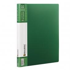 Папка 20 вкладышей BRAUBERG 'Contract', зеленая, вкладыши-антиблик, 0,7 мм, бизнес-класс, 221774