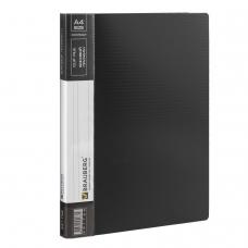 Папка с боковым металлическим прижимом и внутренним карманом BRAUBERG 'Contract', черная, до 100 л., 0,7 мм, 221786
