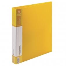 Папка на 2 кольцах BRAUBERG Contract, 35 мм, желтая, до 270 листов, 0,9 мм, 221795