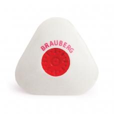 Резинка стирательная BRAUBERG 'Energy', треугольная, пластиковый держатель, 10х45х45 мм, белая, 222473
