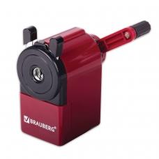 Точилка механическая BRAUBERG, металлический механизм, черный/бордовый, 222517
