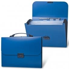 Портфель пластиковый BRAUBERG 'Energy', А4, 256х330 мм, 6 отделений, синий, 222572