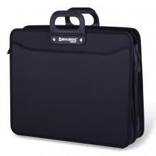 Портфель пластиковый BRAUBERG портфолио, А3, 470х380х130 мм, 3 отделения, на молнии, черный, 223081