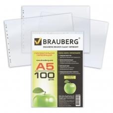 Папки-файлы перфорированные, А5, BRAUBERG, горизонтальные, комплект 100 шт., гладкие, Яблоко, 35 мкм, 223085