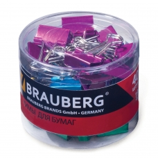 Зажимы для бумаг BRAUBERG, комплект 40 шт., 19 мм, на 60 л., цвет металлик, в пластиковом цилиндре, 223504
