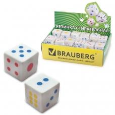 Резинка стирательная BRAUBERG 'Game', в форме игральной кости, 24х24х24 мм, белая, пакет, 223605