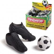 Резинки стирательные ПИФАГОР 'Футбол', набор 3 шт., в упаковке с подвесом, 223608