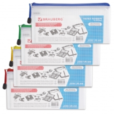 Папка-конверт на молнии BRAUBERG 'Segment', 255х130 мм, ПВХ, сетка, 200 мкм, прозрачная, 223888