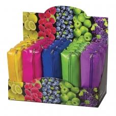 Пенал-косметичка BRAUBERG, под искусственную кожу, ассорти 5 цветов, 'Блеск', 20х6х4 см, дисплей, 223896