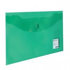 Папка-конверт с кнопкой BRAUBERG, А5, 240х190 мм, 150 мкм, прозрачная, зеленая, 224025