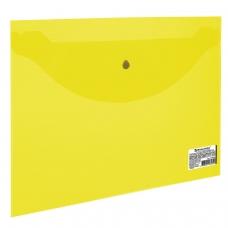 Папка-конверт с кнопкой BRAUBERG, А5, 240х190 мм, 150 мкм, прозрачная, желтая, 224028