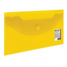 Папка-конверт с кнопкой BRAUBERG, 250х135 мм, 150 мкм, прозрачная, желтая, 224032