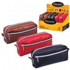 Пенал-косметичка BRAUBERG под фактурную кожу, ассорти, коричневый, красный, черный, 'Идеал', 19х9х4 см, дисплей, 224035