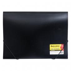 Папка на резинках BRAUBERG Business, А4, 6 отделений, пластиковый индекс, черная, 0,5 мм, 224145