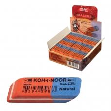Резинка стирательная KOH-I-NOOR, прямоугольная, скошенные углы, 42х14х8 мм, красная/синяя, картонный дисплей, 6521080006KDRU