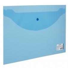 Папка-конверт с кнопкой STAFF, А4, 340х240 мм, 120 мкм, до 100 листов, прозрачная, синяя, 224623