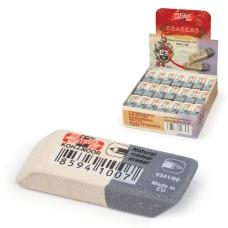 Резинка стирательная KOH-I-NOOR, прямоугольная, скошенные углы, 41x14x8 мм, двухцветная, картонный дисплей, 6541080004KDRU