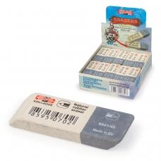 Резинка стирательная KOH-I-NOOR прямоугольная, скошенные углы, 57x19,5x8 мм, двухцветная, картонный дисплей, 6541040007KDRU