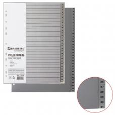 Разделитель пластиковый BRAUBERG, А4, 31 лист, цифровой 1-31, оглавление, серый, 225598