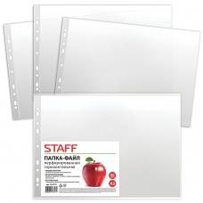 Папки-файлы перфорированные, А3, STAFF, горизонтальные, комплект 50 шт., гладкие, Яблоко, 35 мкм, 225770