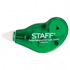 Корректирующая лента STAFF, 5 мм х 3 м, корпус зеленый, с подкручиванием, блистер, 226810