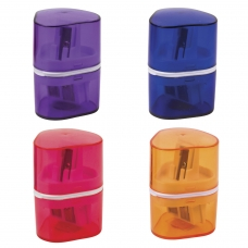 Точилка BRAUBERG 'Case' с контейнером, пластиковая, треугольная, двухсторонняя, 3 отверстия, ассорти, 226943