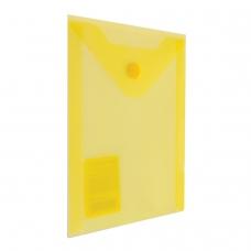Папка-конверт с кнопкой BRAUBERG, А6, 105х148 мм, 180 мкм, желтая, 227319