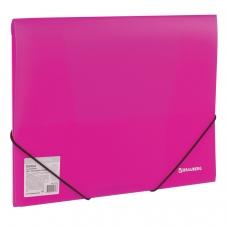 Папка на резинках BRAUBERG 'Neon', неоновая, розовая, до 300 листов, 0,5 мм, 227462