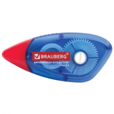 Корректирующая лента BRAUBERG 5 мм х 8 м, корпус синий, механизм перемотки, блистер, 227801