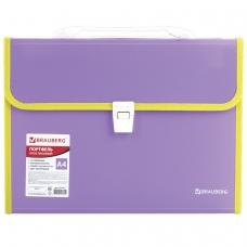 Портфель пластиковый BRAUBERG 'Joy', А4 330х245х35 мм, 13 отделений, с окантовкой, индексные ярлыки, фиолетовый, 227977