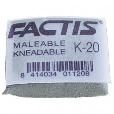 Ластик-клячка FACTIS K 20 Испания, 37х29х10 мм, супермягкий, натуральный каучук, серый, CCFK20