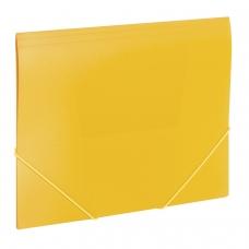 Папка на резинках BRAUBERG 'Office', желтая, до 300 листов, 500 мкм, 228082