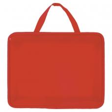 Папка на молнии с ручками ПИФАГОР, А4, пластик, молния вокруг, однотонная красная, 228232