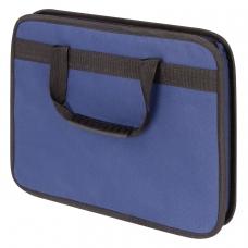 Папка на молнии с ручками STAFF, А4, твердые стенки, ткань, синяя, 228345