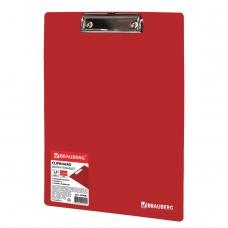 Доска-планшет BRAUBERG Contract сверхпрочная с прижимом А4 313х225мм,пластик, 1,5мм,КРАСНАЯ,228681