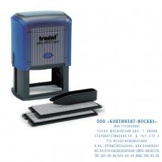 Штамп самонаборный, 8-строчный, оттиск 60х40 мм, синий, без рамки, TRODAT 4927/DB, корпус синий, кассы в комплекте, 4957