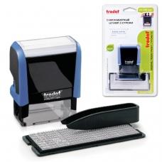 Штамп самонаборный 3-строчный, оттиск 38х14 мм, синий, без рамки, TRODAT 4911P4/DB , корпус синий, касса в комплекте, 4911/DB