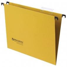 Подвесные папки картонные BRAUBERG, комплект 10 шт., 315х245 мм, до 80 л., А4, желтые, 230 г/м2, табуляторы, 231790