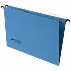 Подвесные папки картонные BRAUBERG, комплект 10 шт., 370х245 мм, 80 л., Foolscap, синие, 230 г/м2, табуляторы, 231793