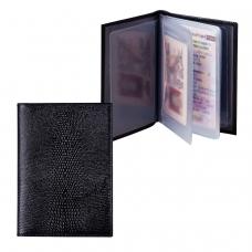 Бумажник водителя BEFLER 'Ящерица', натуральная кожа, тиснение, 6 пластиковых карманов, черный, BV.1-3