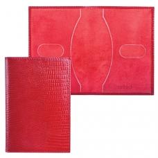 Обложка для паспорта BEFLER 'Ящерица', натуральная кожа, тиснение, красная, О.1-3