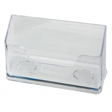 Подставка для визиток настольная BRAUBERG 'CONTRACT', на 50 визиток, 100х40х65 мм, прозрачная, 232287