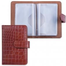Визитница/кредитница однорядная GALANT 'Contract', на 24 карты, под кожу крокодила, застежка, коричневая, 235397