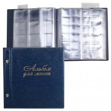 Альбом для монет и купюр на винтах универсальный, 224х224 мм, на 216 монет до D-45 мм, выдвижные карманы, синий, 'ДПС', 2855-201
