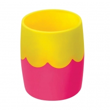 Подставка-органайзер СТАММ стакан для ручек, розово-желтая, непрозрачная, СН502