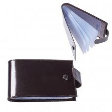 Визитница карманная BEFLER Classic на 40 визиток, натуральная кожа, кнопка, коричневая, V.31.-1