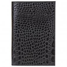 Обложка для паспорта BEFLER 'Кайман', натуральная кожа, тисненение 'крокодил', черная, O.1.-13