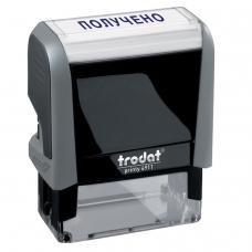 Штамп стандартный 'ПОЛУЧЕНО', оттиск 38х14 мм, синий, TRODAT 4911P4-1.1, 53557