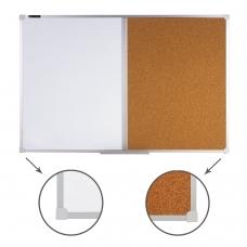 Доска комбинированная: магнитно-маркерная, пробковая, для объявлений, BRAUBERG, 60х90 см, 236864