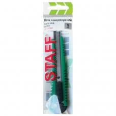 Нож универсальный 9 мм STAFF 'PRO', усиленный, металлические направляющие, автофиксатор, ассорти, 237082